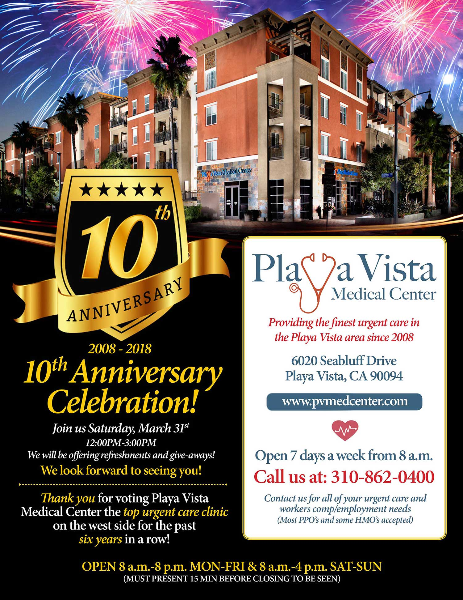Playa Vista 10th Anniversary Flyer March 31st from 12pm - 3pm